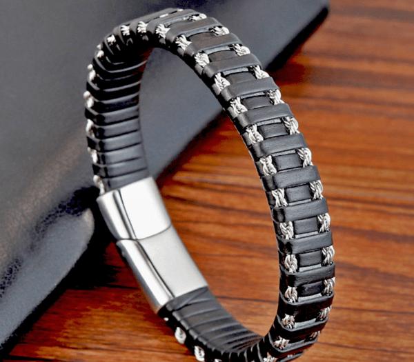 läderarmband silver