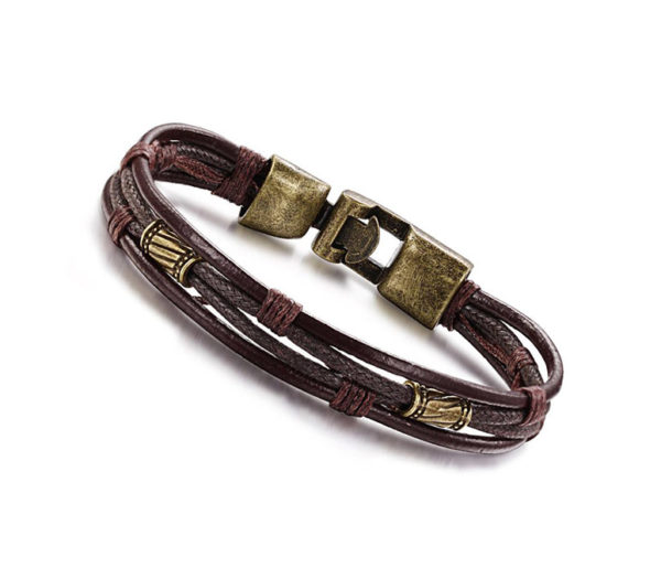 brunt läderarmband metallspänne