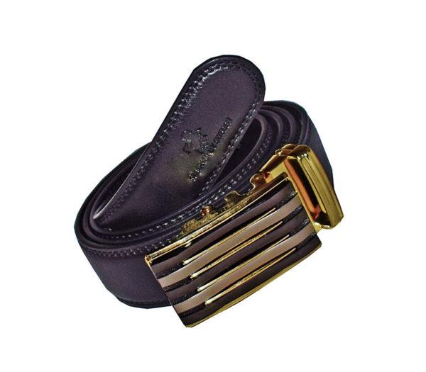 brunt läderskärp guldspänne