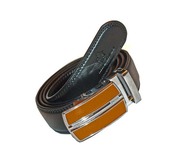 brunt läderskärp silverspänne