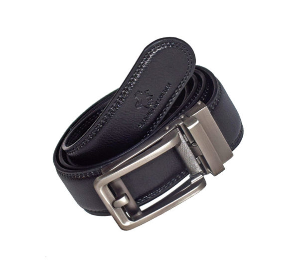 svart läderskärp silverspänne