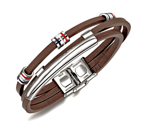 läder armband med silverdetaljer