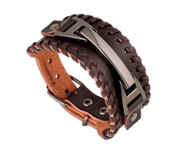 läderarmband silverdetaljer
