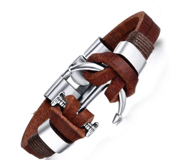 läderarmband silverankare